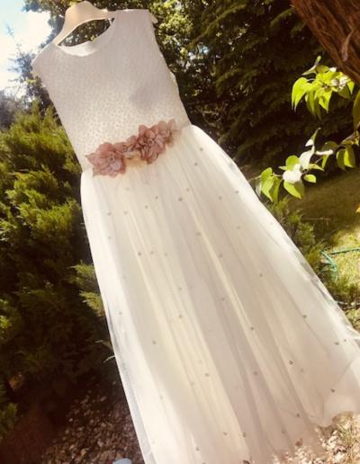 Bruidsmeisjes jurk bloemen ivoor tulle