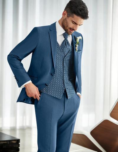 Wilvorst Prestige denimblauw kostuum met fantasie gilet en plastron