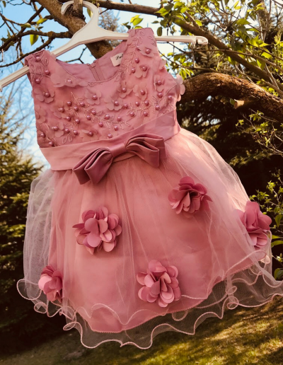 Bruidsmeisjes jurk ivoor tulle oud roze