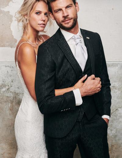 Bruidspak krijtstreep in antraciet